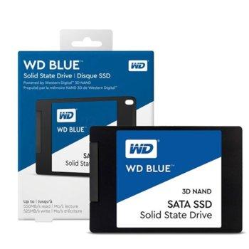"""Памет SSD 250GB Western Digital Blue, SATA 6Gb/s, 2.5""""(6.35 cm), скорост на четене 550MB/s, скорост на запис 525MB/s image"""