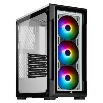 Кутия Corsair iCUE 220T RGB (CC-9011191-WW), ATX/Micro ATX/Mini-ITX, 2x USB 3.0, прозорец, бяла, без захранване image