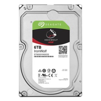 "Твърд диск 6TB Seagate IronWolf, SATA 6Gb/s, 7200 rpm, 256MB, 3.5"" (8.89cm) image"