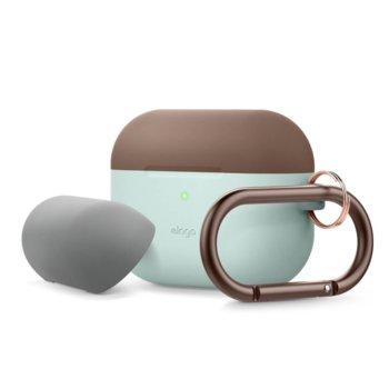 Калъф за слушалки Elago Duo Hang Silicone EAPPDH-MT-DBRMGY, за Apple AirPods Pro, силиконов, светлосин-кафяв image