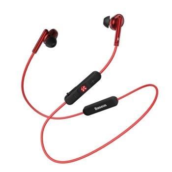 Слушалки Baseus Encok S30, безжични (Bluetooth 5.0), микрофон, контрол на звука, IPX5 водоустойчиви, червени image