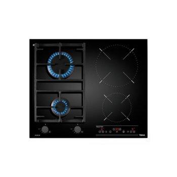 """Плот за вграждане Teka IG 620 2G, комбиниран (2x газови/2x индукционни), стъклокерамика, 4 нагревателни зони, комбинирано управление, функция """"Свръхмощност"""", черен image"""