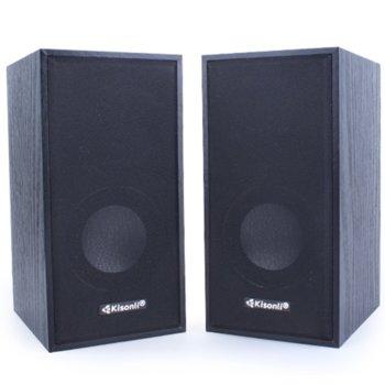 Тонколони Kisonli Т004, 2.0, 6W (2 x 3W) USB, 3.5mm jack, черни image