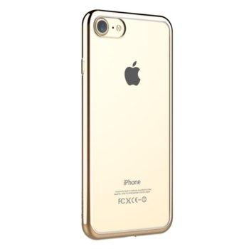 Калъф за Apple iPhone 7+, страничен протектор с гръб, термополиуретан, Devia Glitter Soft, сребрист image
