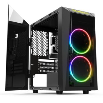 Кутия Gamdias Talos E1, Micro ATX, Mini ITX, 1x USB 3.0, 2x USB 2.0, LED посветка, 2x 120mm предни вентилатора, черна, без захранване image
