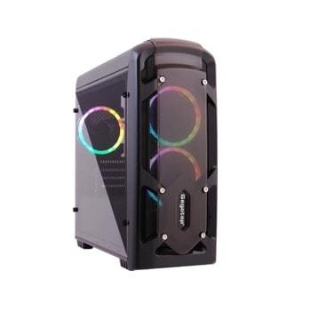 Кутия Segotep Polar Light, Micro ATX/Mini-ITX, 1x USB 3.0, 2x USB 2.0, прозорец, RGB подсветка, черна, без захранване image