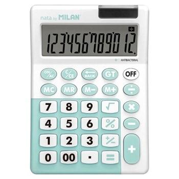 Калкулатор Milan, 12 разряден дисплей, настолен, антибактериален, 4 memory бутона,функции корен квадратен и Grand Total, различни цветове image