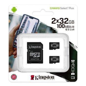 Карта памет 32GB microSDHC с адаптер, Kingston Canvas Select Plus Multi Pack, Class 10 UHS-I, скорост на четене 100MB/s, скорост на запис 10 MB/s, 2 броя image