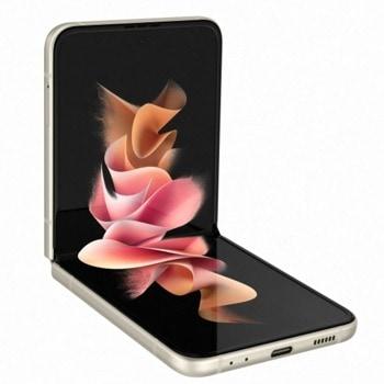 "Смартфон Samsung Galaxy Z Flip3 5G (бежов), 6.7"" (17.01 cm) Foldable Dynamic AMOLED 2X, 120Hz дисплей, осемядрен Snapdragon 888 5G 2.84GHz, 8GB RAM, 256GB Flash, 12.0 + 12.0 & 10.0 Mpix камера,Android, 183 g. image"