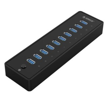 USB Хъб Orico P10-U3-BK, от USB 3.0(м) към 10x USB 3.0(ж), черен image