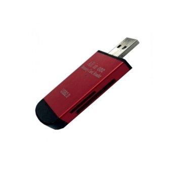 Четец за карти All in 1, USB 2.0, microSD/SD, червен image