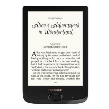 "Електронна книга PocketBook Basic Lux 2, 6""(15.24 cm) E Ink Carta HD Anti-glare дисплей, 256 MB RAM, до 8 Flash памет (+microSD), WiFi, 1300mAh батерия, Micro USB, черен image"