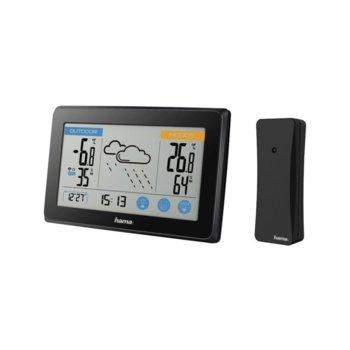 Електронна метеостанция Hama Touch, термометър, часовник, дата, измерване на влажност, хигрометър, прогноза за време, черна image