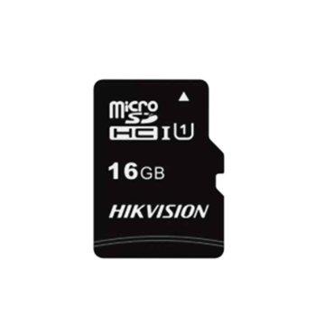 Карта памет 16GB microSDHC, HIkVision HS-TF-C1(STD)/16G, Class 10, с адаптер, скорост на четене 92MB/s, скорост на запис 20MB/s image