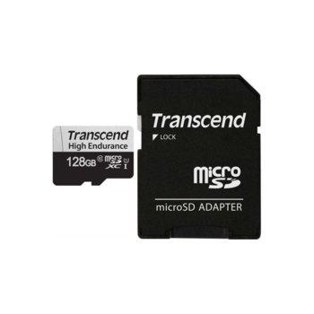 Карта памет 128GB microSDXC с адаптер, Transcend High Endurance, U1 Class 10 UHS-I, скорост на четене 95MB/s, скорост на запис 45 MB/s image