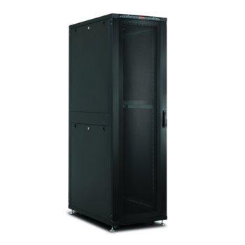 """Комуникационен шкаф Lande LN-SR42U8010-BL-241, 19"""", 42U, 800 x 1000 мм, перфорирана врата, черен image"""