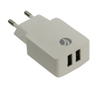 Зарядно за стена VCom Charger AC / 2A 2xUSB, бяло  image