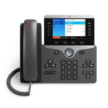 "VoIP телефон Cisco IP Phone 8841, 5.0"" (12.70 cm) WVGA цветен дисплей, 5 линии, 2x LAN1000, PoE, тъмно сив image"