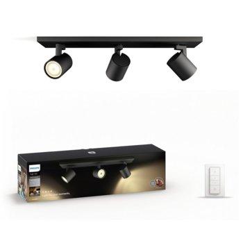 Смарт лампа Philips Runner Hue 53093/30/P7, за таван, WiFi, общо 750 lm, 2200K - 6500K бяла атмосфера, включен ключ за димиране, черна image