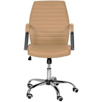 Oфис стол Carmen 6174 brown, хромирана база, еко кожа, механизъм за регулиране на височината, люлеещ механизъм, кафяв image