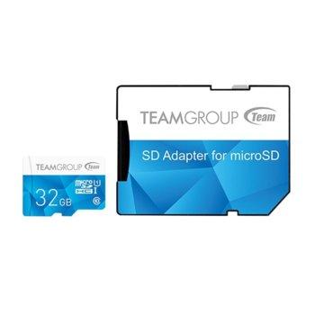 Карта памет 32GB microSDXC Team Group Color с адаптер, Class 10 UHS-I, скорост на четене 80 MB/s, скорост на запис 20 MB/s image