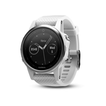 "Смарт часовник Garmin fēnix 5S, 1.1"" (2.79 cm), Bluetooth, GPS, 54MB Flash памет, до 14 часа време за работа, бял image"