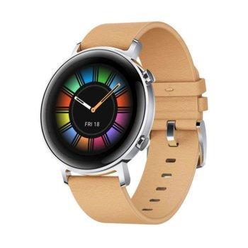 Смарт часовник Huawei Watch GT 2, Diana-B19V, 42mm, 390 x 390 pix AMOLED дисплей, 4GB памет, Bluetooth, Huawei wearable platform, водоустойчив, сребрист с кафява каишка image