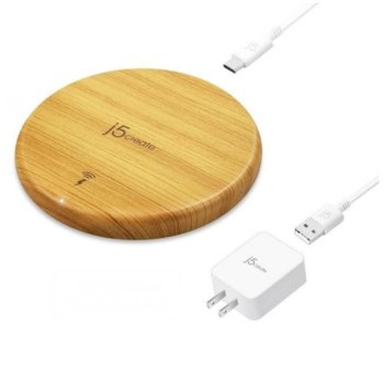 Безжично зарядно устройство j5create JUPW1101W, oт контакт към безжично зарядно, 5V/1A/1.5A/9V/1.1A, 1000/2000/3000 mA, кафява/дърво, Qi технология, 10/7.5/5W image