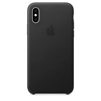 Калъф за Apple iPhone XS, Apple Leather Case, кожен, черен image