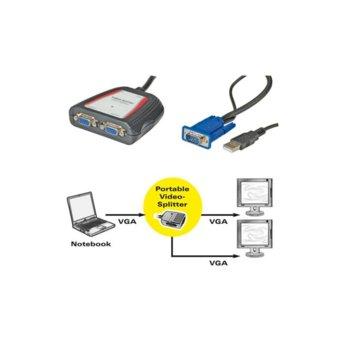 Сплитер Roline (14.99.3523), 1x VGA вход към 2x VGA изхода image