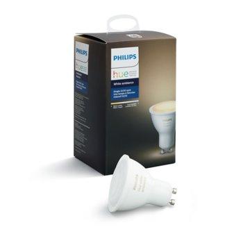 Смарт крушка Philips Hue Ambiance 871869659828300, Wi-fi, 5.5W, формат GU10, GU10, 2200-6500K, 250 lm, димираща, бяла светлина image