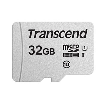 Карта памет 32GB microSDHC, Transcend 300S, Class 10 UHS-I, скорост на четене 100MB/s, скорост на запис 25MB/s image