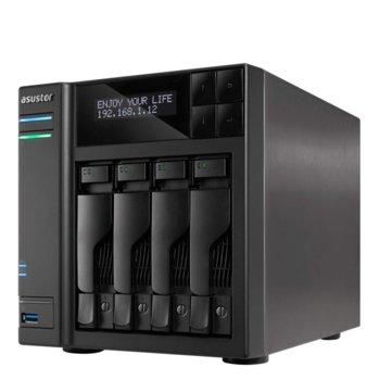 """Мрежови диск (NAS) Asustor AS6404T, четириядрен Intel Celeron J3455 1.5/2.3GHz, без твърд диск(4x SATA3/SSD 2.5""""/3.5""""), 8GB DDR3L RAM, 2x Lan1000, 1x HDMI, 4x USB 3.0 image"""