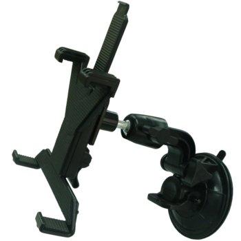 Универсална стойка за таблет 7-14', закрепване с вакуум, подходяща за всички видове портативни устройства: GPS навигации, iPad, Ipod, черна image