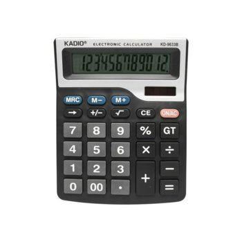 Калкулатор Kadio KD-9633B, 12 цифров, печатащ, черен image
