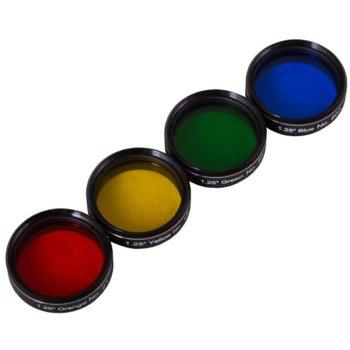Комплект филтри за телескоп Explore Scientific N2, включва зелен/оранжев/жълт/син филтър, 1.25mm диаметър на цилиндъра, анти-рефлективни image