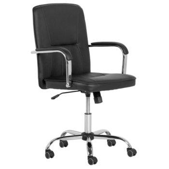 Oфис стол Carmen 6173, хромирана база, еко кожа, механизъм за регулиране на височината, черен  image