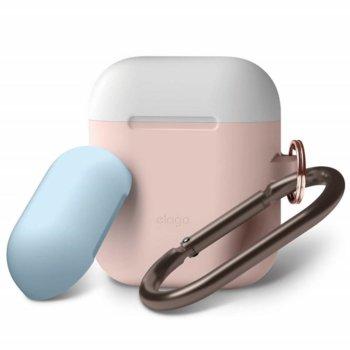 Калъф за слушалки Elago Duo Hang Silicone Case EAPDH-PK-WHPBL, за Apple AirPods, силиконов, розов image