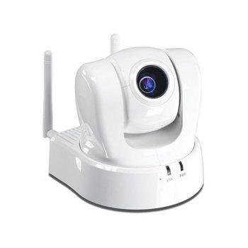 IP камера TRENDnet TV-IP612WN, управляема камера (PTZ - Pan/Tilt/Zoom), 704x576@30fps, 3.8mm-38.0mm обектив, H.264/MPEG-4/MJPEG, PoE, безжична, вграден микрофон, бяла image