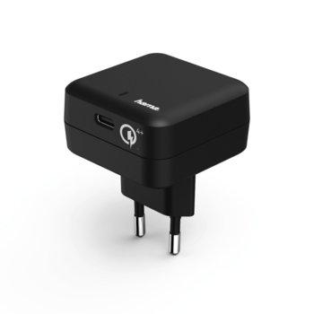 Зарядно Hama Qualcomm Quick Charge 4+, от контакт към USB Type-C(ж), 5V, 3A, черно image