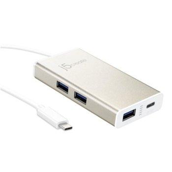 USB Хъб j5Create JCH346, 4x port, USB 3.1 Gen1 Type C, сребрист image