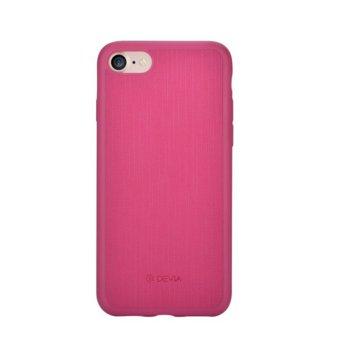 Калъф за Apple iPhone 7, страничен протектор с гръб, термополиуретан и еко кожа, Devia Jelly Slim , розов image