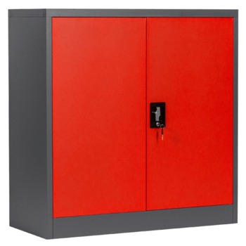 Метален шкаф Carmen R-1239 E SAND, 2x рафтове, прахово боядисан, метален, регулируема височина на рафтовете, черно-червен image