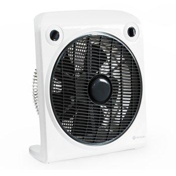 Настолен вентилатор Rohnson R-820, 50W, 30 cm диаметър, завъртаща защитна решетка, 3 скорости, часовник, бял image