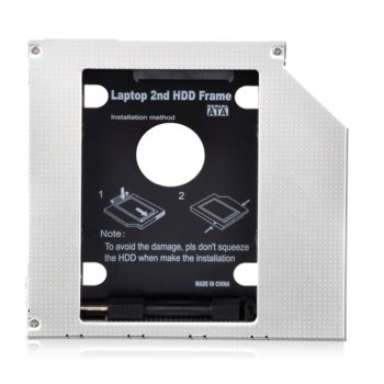 "Преходник (mounting bracket) Makki 95 LS, DVD (9.5 mm) към SATA, за втори 2.5"" HDD/SSD image"