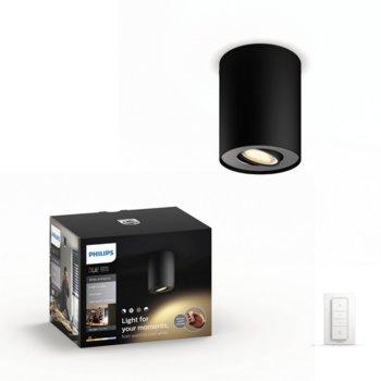 Смарт лампа Philips Pillar Hue 56330/30/P7, за таван, WiFi, 250 lm, 2200K - 6500K бяла атмосфера, включен ключ за димиране, черна image