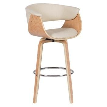 Бар стол Carmen 4040, до 100кг, еко кожа, дървена база, крем image