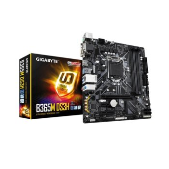 Дънна платка Gigabyte B365M DS3H, B365, LGA1151, DDR4, PCI-Е (HDMI&D-Sub&DVI-D), 6x SATA 6Gb/s, 1x M.2, USB 3.1 Gen, Micro ATX image