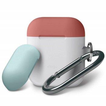 Калъф за слушалки Elago Duo Hang Silicone Case EAPDH-LUBL-IROCBL, за Apple AirPods, силиконов, бял-фосфоресциращ image