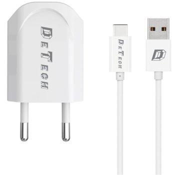 Зарядно устройство DeTech DE-11C от контакт към 1 x USB А(ж), 5V/1A, 220V, бяло, с кабел от USB A(м) към USB Type-C(м), 1.0m image
